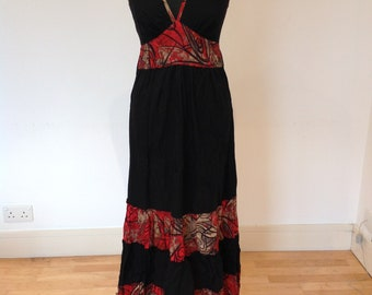 Black and red summer dress, one of a kind, boho style, ethnic dress, bohemian, summer dress, festivals