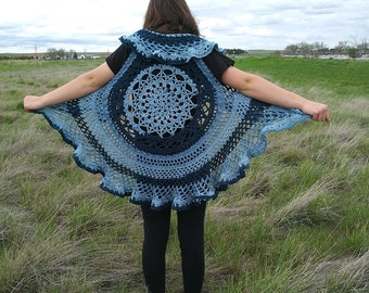 Vest,Custom Made,Boho Vest,Crochet Vest,Lotus Vest,Circular Vest,Round Vest,Circle Vest,Ruffled Vest,Multi Colored Vest,Lacey Vest,Ruffle