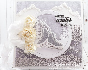 Shabby Chic Warm Winter Wishes Ice Skates Greeting Card