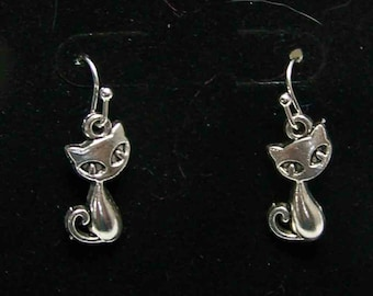 Kitten Earrings, Cat Jewelry, Cat earrings, earrings, cat,  Antique Silver Tone  Earrings
