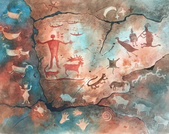 "Original Native American Painting ""Pecos River Pictograph"""