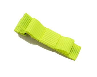 Croc cotton neon yellow ribbon bow Barrette.