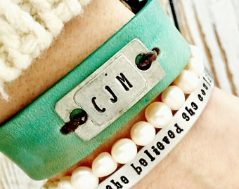Personalized Turquoise Leather bracelet - Metal plate with initials, custom bracelet, 3rd anniversary gift for wife or girlfriend