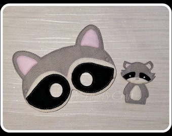 Raccoon Mask and Finger Puppet Set - Woodland Forest Animal Mask - Felt Dress Up Masks - Birthday Party Favor Halloween
