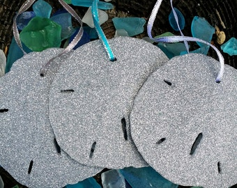 Glitter Silver Sparkle Sand Dollar Ornament Collection Set of 3 Coastal Christmas Tree Beach Holiday Exchange Party Gifts Home Decor Shells