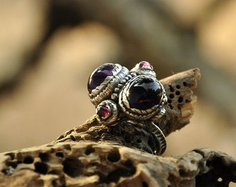 Ring with amethysts and tourmalines UFO. silver ring, unique silver ring