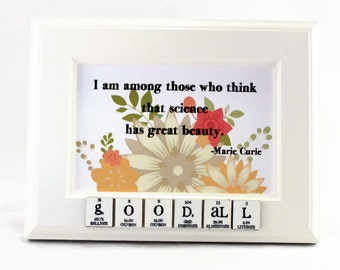 Personalized Chemistry Art - Marie Curie - Science Nerdy Geeky Gift Idea
