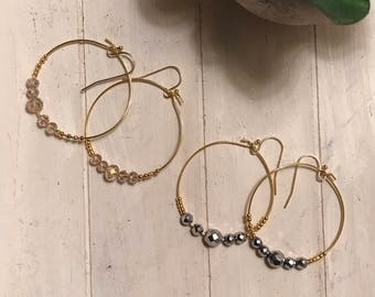 Beaded Hoop Earrings/ Hoop Earrings/ Beaded Earrings