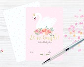 Swan & flowers Pink dots ...