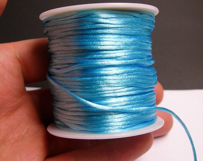 Satin Rattail Cord - knotting/beading cord -1.5mm - 65 meter - 213 foot - light blue - SSC22
