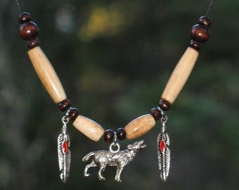 Wolf necklace / Indian / #042
