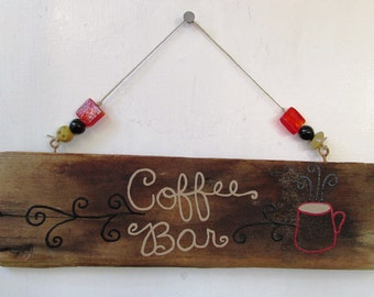 Coffee Bar Driftwood Art, Reclaimed Wood Art, Rustic Decor, Beach Decor, Coffee Lover, Tea, Cafe Decor, Break Room Decor, Classroom Decor