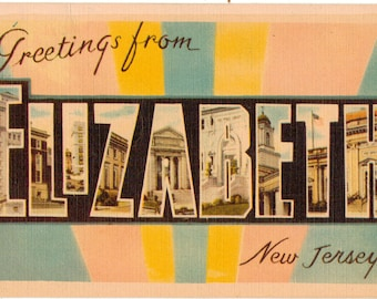 Linen Postcard, Greetings from Elizabeth, New Jersey, Large Letter