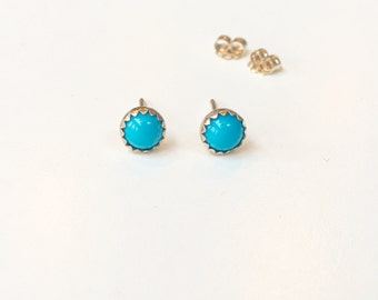 SOLID Gold Turquoise Studs 14K Gold - Beautiful 5mm Round Cabochon Sleeping Beauty Turquoise Hand Set in 14K Solid Gold Serrated Bezel Cups