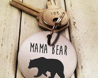 Mama Bear Key chain Stainless Steel- Handwritten Engraved Brushed Stainless Steel