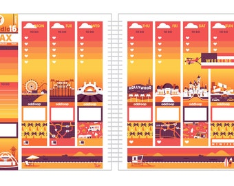 Travel the World: Los Angeles Planner Stickers Weekly Kit (CREATE A SCENE!) - For use with Erin Condren Vertical Lifeplanner