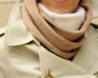 100% Cashmere Infinity Scarf; Upcycled Cashmere Scarf; Recycled Cashmere Knit Scarf; Colorblock Cream White & Camel Tan; Pure Cashmere Scarf