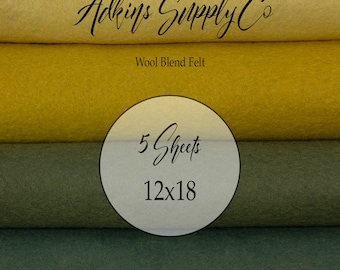 5 Felt Sheets - Wool Felt Sheets - 12x18 Felt Sheets - Wool Blend Felt - Choose Your Colors - Wool Fabric