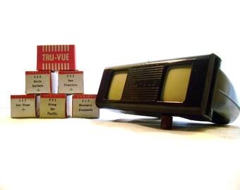 Vintage Tru-Vue Slide Viewer And 6 Boxed Film Strips of Landmark/Tourist scenes, Bakelite , Film Viewer, Scene Viewer.