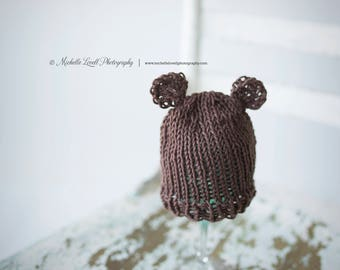 Hand Knit teddy bear newborn hat in brown, Ready to Ship Item