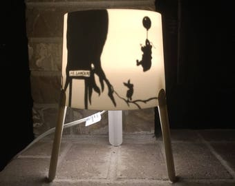 Winnie the Pooh and Christopher Robin Too Silloutte Lamp hand painted