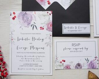 Purple Black Wedding Invitation Suite, Floral Wedding Invitation Set, Calligraphy Wedding Invites, Watercolor Wedding Invitations