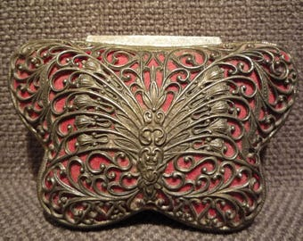 Vintage Ornate Silver Butterfly Jewelry Box