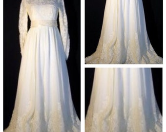 Vintage William Cahill Wedding Dress Ivory Lace Long Sleeves Size 10