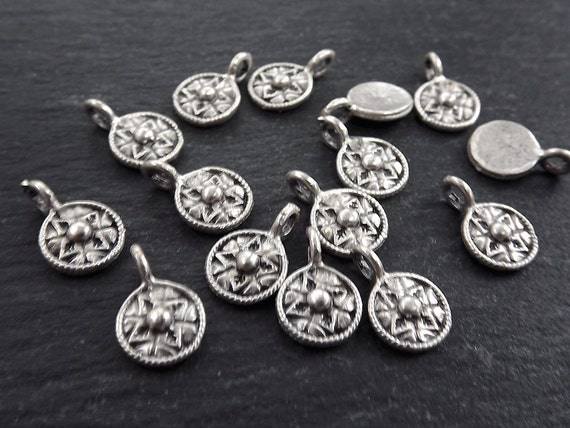 15 Mini Round Tribal Dot Charms Matte Antique Silver Plated by Etsy