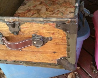 Vintage-Style Steamer Trunk Strap Handle, Individual; Leather