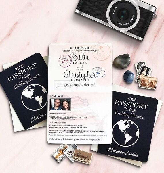 passport bridal shower invitation travel theme