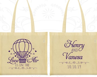 Love is in the Air Wedding Bags, Personalized Bags, Hot Air Balloon Wedding Bags, Love Wedding, Wedding Bags (225)