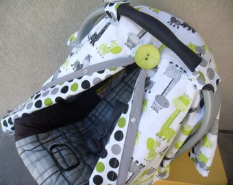 Carseat Canopy Carseat Cover Giraffe Dots Universal car seat cover BUTTON NOT INCLUDED