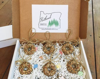 Bird Seed Wreath Gift Set of (6), bird seed ornaments, Holiday gift, birdseed wreath, coworker gift, bird feeder, teacher gift