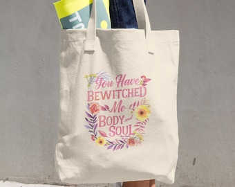 Jane Austen's Bewitched Quote Cotton Tote Bag