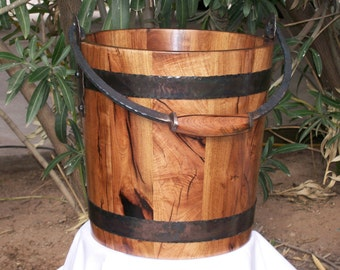 Mesquite Wood Water Bucket with Hand Forged Hardware