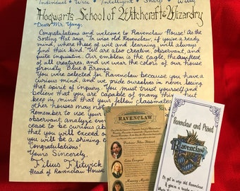 Ravenclaw House Acceptance Letter & Accessories - Personalized and Handwritten