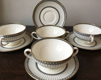Free UK Shipping! Wedgwood Colonnade Black Footed Cream Soup Bowl and Saucer