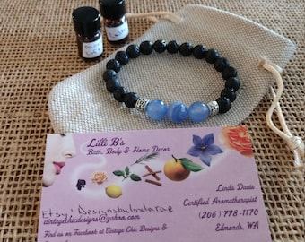 Blue Lace Agate and Lava Stone Bracelet