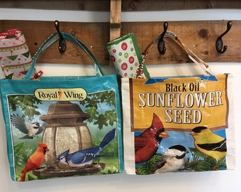 Two Upcycled Bird Seed Gift Bags