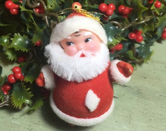 Vintage Flocked Santa Ornament