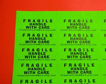 90 PERSONALIZED FRAGILE Handle with Care Labels. 3 Sheets Neon Green 1-Inch Labels. 5279