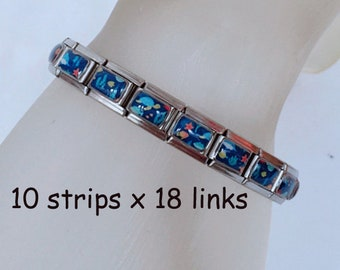 Lot of 10 strips of 18 links 9mm sea animal italian charm bracelets BC40