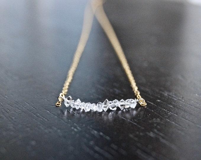 14k solid gold : Herkimer diamond necklace