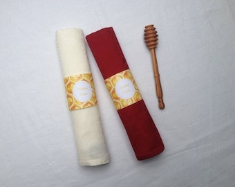 Printable Napkin Rings Rosh Hashanah Honey Pattern