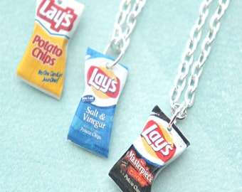 potato chips necklace- miniature food jewelry, food necklace