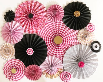 Pink and Black Paper Rosettes | Makeup Party Decor | Makeup Decor | Paper Rosettes | Paper Pinwheels | Backdrop | Vanity Decor | Paper Fans