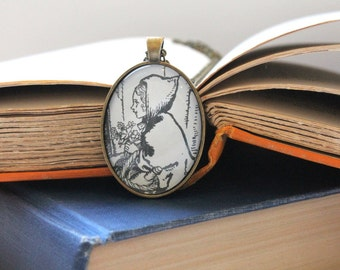Little Red Riding Hood necklace - Arthur Rackham illustration - book club gift idea - book page necklace - literary jewelry - teacher gift