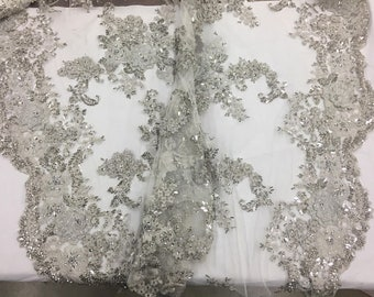 3D Sparkle Roses Sequins On Mesh Fabric With Beads By The Yard Used For -Dress-Bridal-Fashion [Silver] Free Shipping!!!