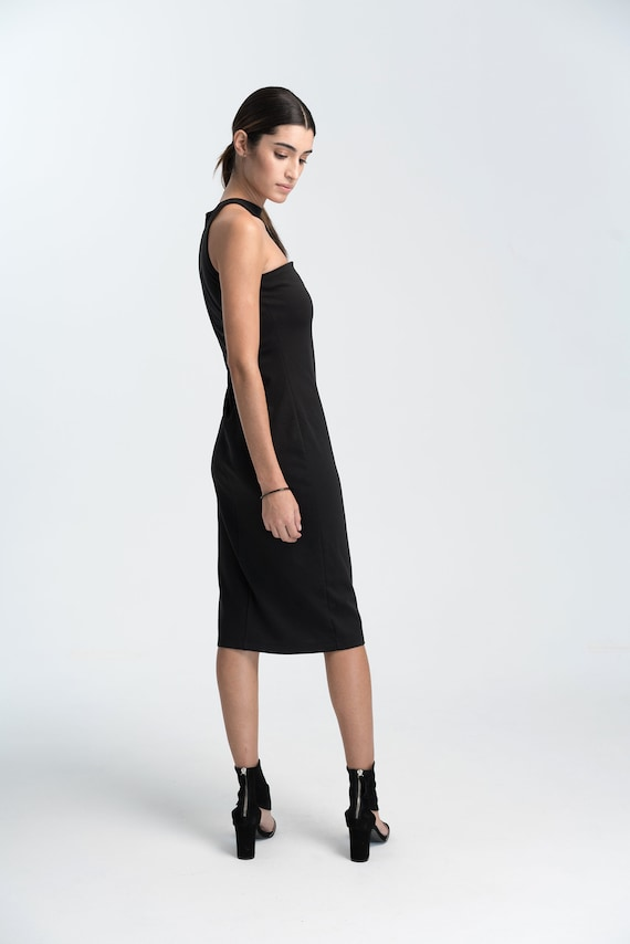 Fitted Dress Dress Dress Cocktail Asymmetric Neckline Pencil Black Dress Extravagant Marcellamoda Dress MD1016 IRwFW0